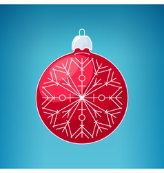 Christmas red ball with snowflake merry christmas vector