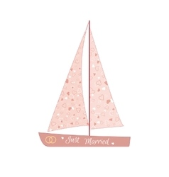 Pink wedding sailing yacht vector