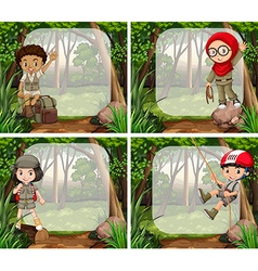Border design with children in the jungle vector