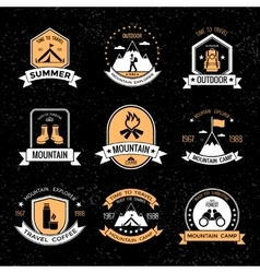 Mountaineering vintage emblems vector