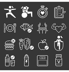 Diet and exercise icons vector