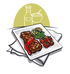 Grilled meat and sauce vector