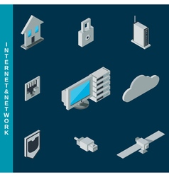 Internet and network equipment icons vector