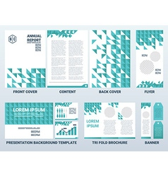 A4 sheet cover and presentation template in green vector image vector image