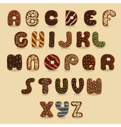 Chocolate Donuts font Artistic alphabet vector image
