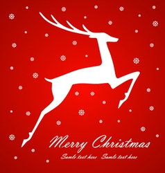 Christmas deer on red background vector image vector image