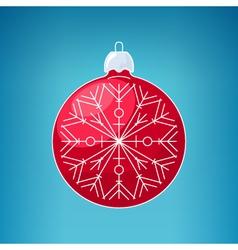 Christmas Red Ball with Snowflake Merry Christmas vector image
