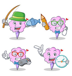 Cotton candy character set with fishing student vector