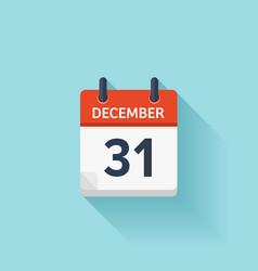 December 31 flat daily calendar icon vector