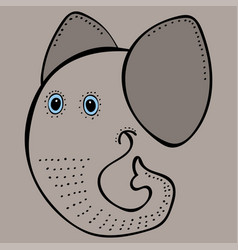 Elephant cute funny cartoon head vector