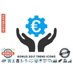 Euro maintenance hands flat icon with 2017 bonus vector
