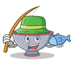 Fishing colander utensil character cartoon vector