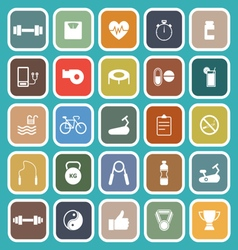 Fitness flat icons on green background vector image