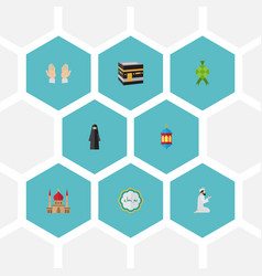 Flat icons minaret palm decorative and other vector