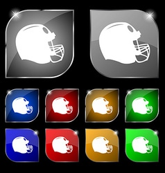 football helmet icon sign Set of ten colorful vector image vector image