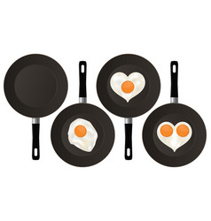 Fried eggs on black frying pan vector