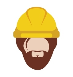 front face man worker with helmet and beard vector image