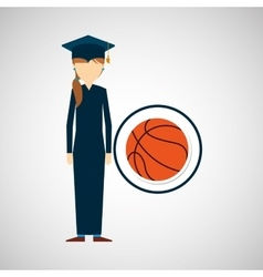 Graduate student girl sport ball vector