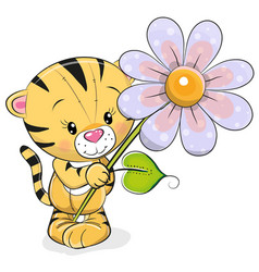 Greeting card tiger with flower vector