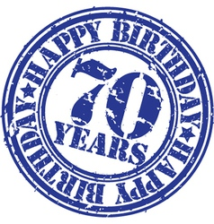 Grunge 70 years happy birthday rubber stamp vector image vector image