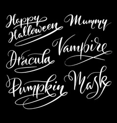 happy halloween hand written typography vector image