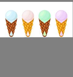 Ice cream in belgian wafflessundaechinese waffle vector