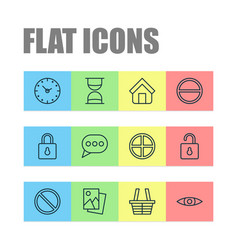 Internet icons set with safeguard refuse estate vector