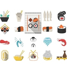 Japanese seafood menu flat icons vector image vector image