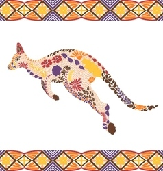 Kangaroo pattern made from flowers leaves vector