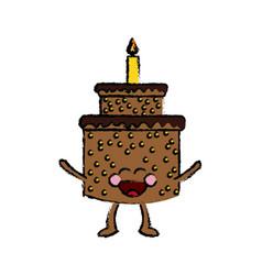 Kawaii cake happy party celebration vector