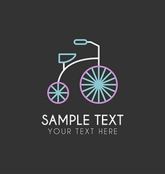 Line art logo template with children tricycle thin vector