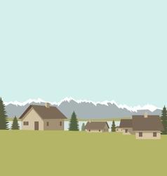 Mountain village spring vector