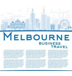 Outline melbourne skyline with blue buildings vector
