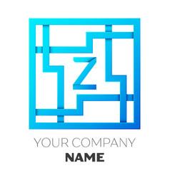 Realistic letter z logo in colorful square maze vector