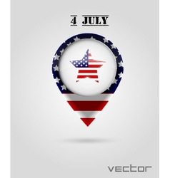 Red Map Markers 4 July Theme vector image