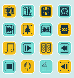 Set of 16 audio icons includes note audio mobile vector