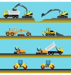 Set of seamless horizontal road construction vector