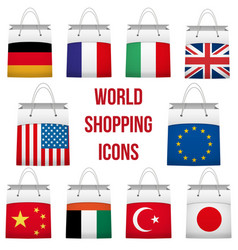 Set shopping bag with flag of different country vector