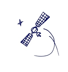 space satellite sketch vector image