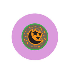 Stylish icon in color circle moon and stars vector