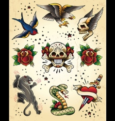 tattoo flash vector elements vector image