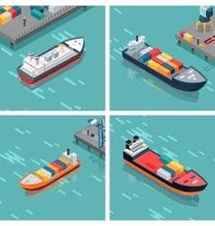 Set of cargo or container ship unloading goods vector