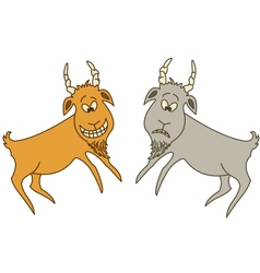 Two goats cheerful and sad vector image