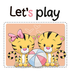 two tigers with a ball vector image