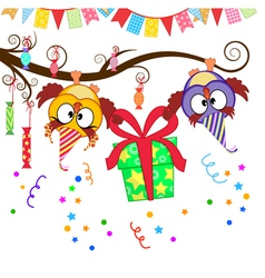 Funny owls give a gift vector
