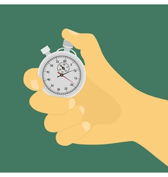 Hand with stop watch vector