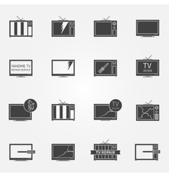 Tv repair or service icons set vector
