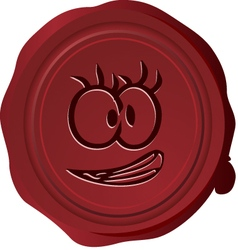 Wax seal smiley 23 vector