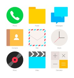 Minimal flat icons for mobile phones set 1 vector