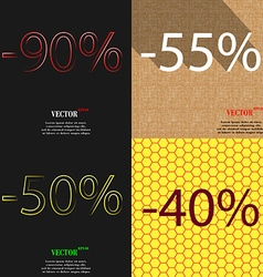 55 50 40 icon set of percent discount on abstract vector